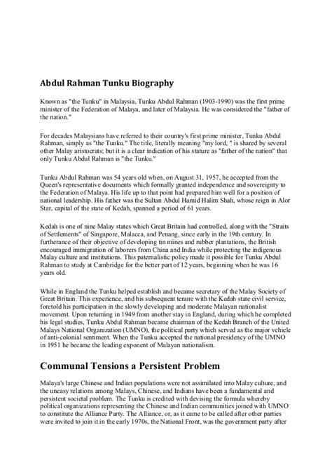 essay biography of tunku abdul rahman biography of tunku abdul rahman