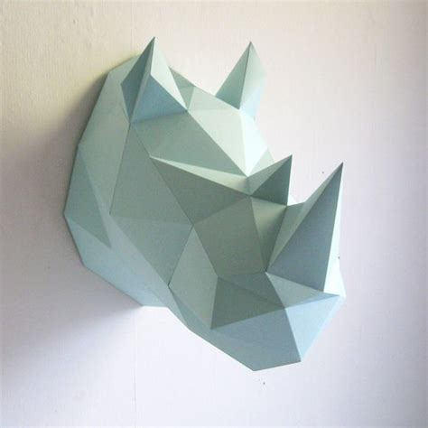 How To Make A Rhino Out Of Paper - assembli wall hanging rhino diy paper kit mint