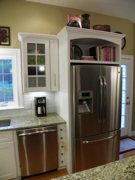 ideas for above kitchen cabinet space cookbooks above fridge remove cupboard doors and add some