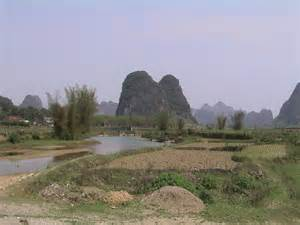 Bicycle touring and pictures of china s karst topography landscape
