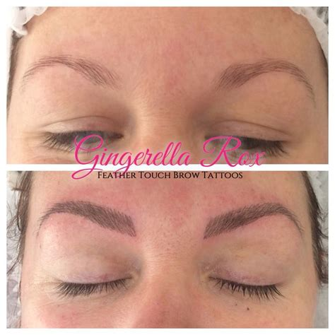 beautiful feather touch brow tattoos done by myself kelly www gingerellarox com feather touch brow tattoos feather