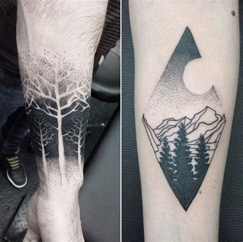 negative space tattoo designs cool dotwork guys negative space tree forearm ideas