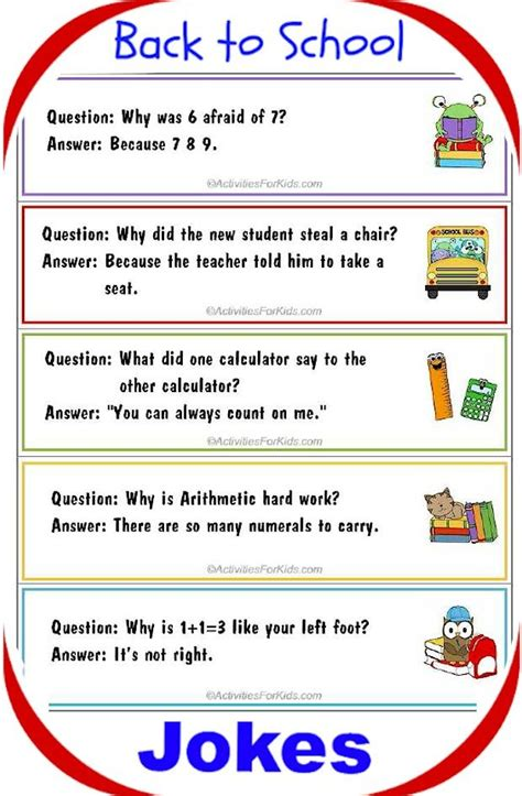 printable math jokes printable back to school jokes for kids bookmark format