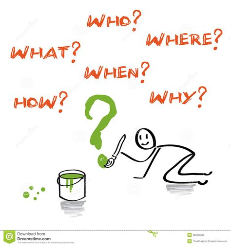 preguntas abiertas con wh en ingles questions what who where when how why english stock
