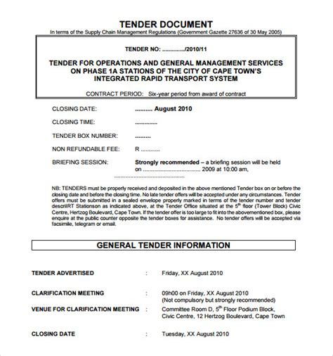 documents templates free sle tender document 9 free documents in pdf