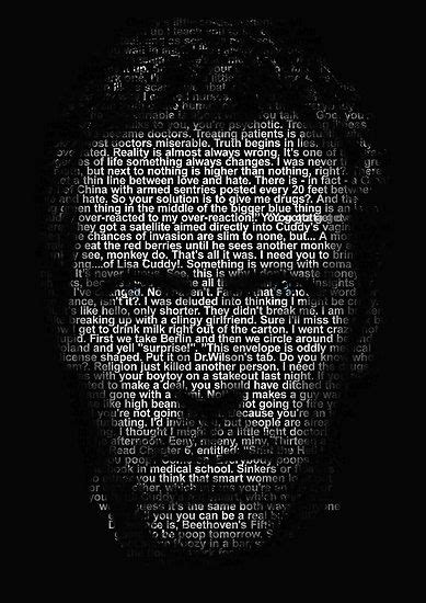 Hugh Laurie image made up of all Dr Gregory House's quotes
