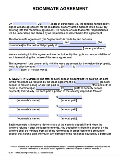 Free Roommate Agreement Template Form Adobe Pdf Ms Word Rental Lease Template Free
