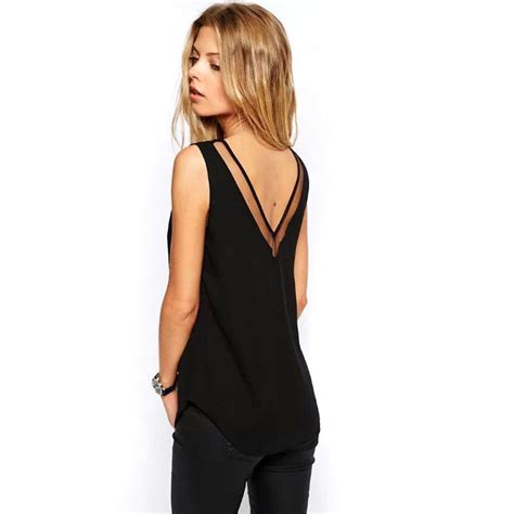 30842 V Neck Mesh Casual Top מוצר tank top summer v neck chiffon vest top
