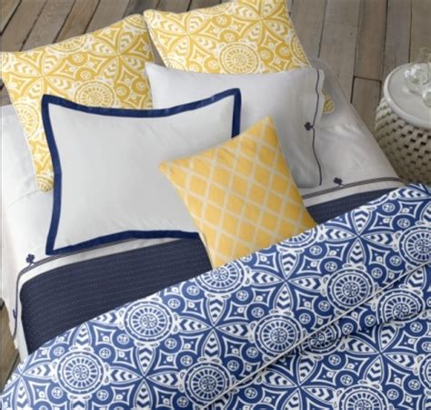 navy blue white and yellow bedroom guest bedroom