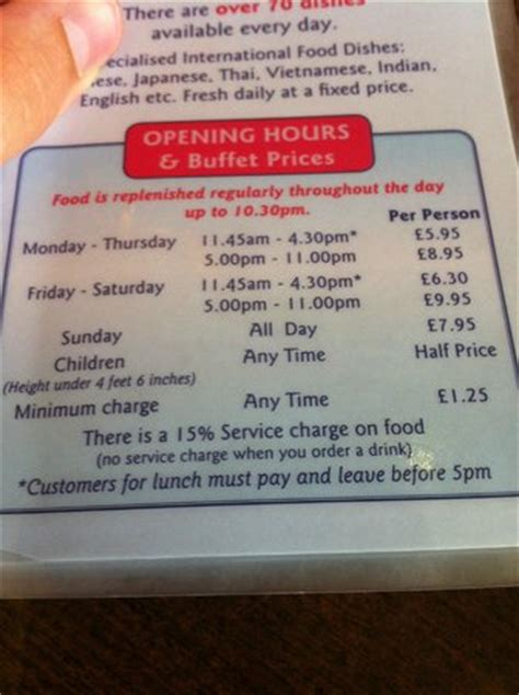 The Price Of The Food And At The Bottom About The 15 City Buffet Prices