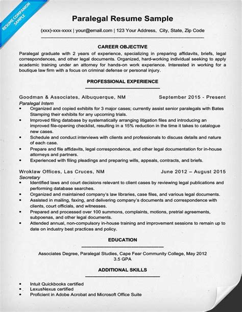 Resume Objective Paralegal Paralegal Resume Sle Writing Tips Resume Companion