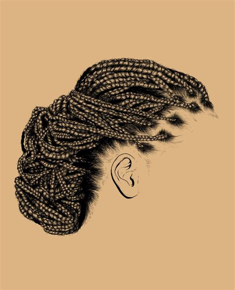 hair art line black and white braided drawing hair