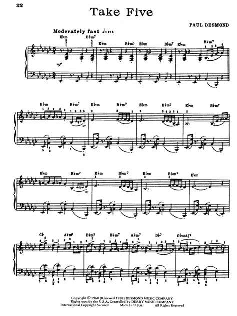tutorial piano take five crib piano akeboshi wind complete version sheet music