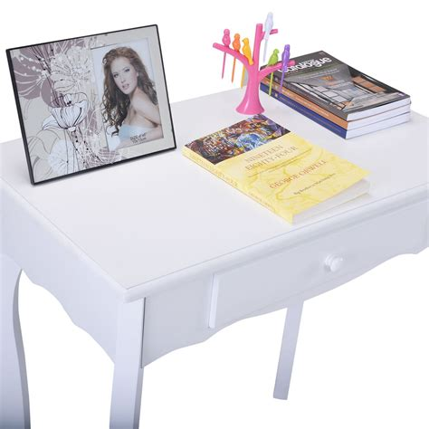 Jewelry And Makeup Vanity Table Classic Vanity White Table Jewelry Makeup Desk Bench Dresser W Stool 3 Drawers