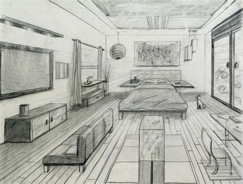 Perspective Drawing Of Bedroom by One Point Perspective Fancy Bed Room Drafting And Design
