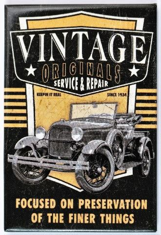 vintage originals service  repair fridge magnet hot rod