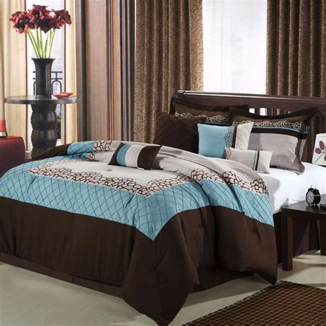 brown and blue comforter sets queen mustang brown blue beige 8 piece queen comforter bed in