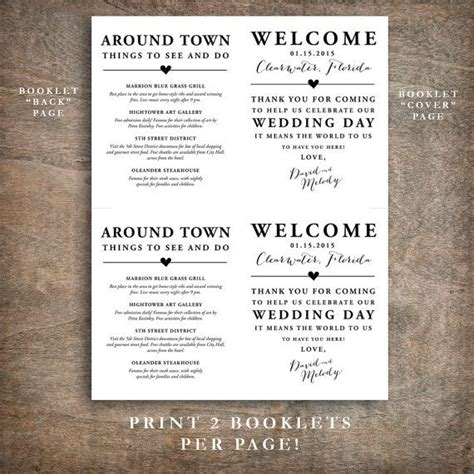 Wedding At Cana Notes by Printable Wedding Welcome Bag Booklet Note Itinerary