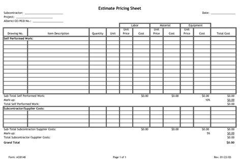 estimate worksheet template estimate pricing sheet subcontractor