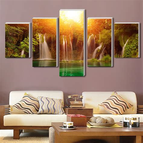 aliexpress com buy 4 panel waterfall and green lake aliexpress com buy cuadros decoracion 5 panel set canvas
