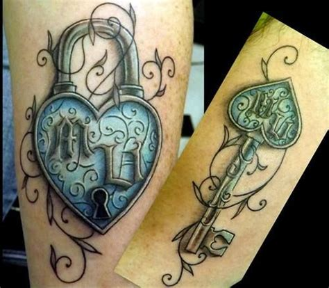 tattoos of lock and key for couples pix for gt his and hers lock and key tattoos tattoos i