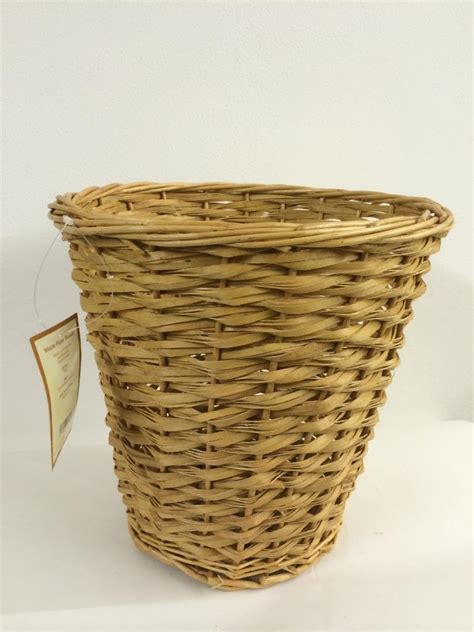 waste paper baskets white buff cream wicker wood waste paper basket matt