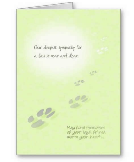 sympathy cards pet sympathy card for a loss so near and dear pawprints