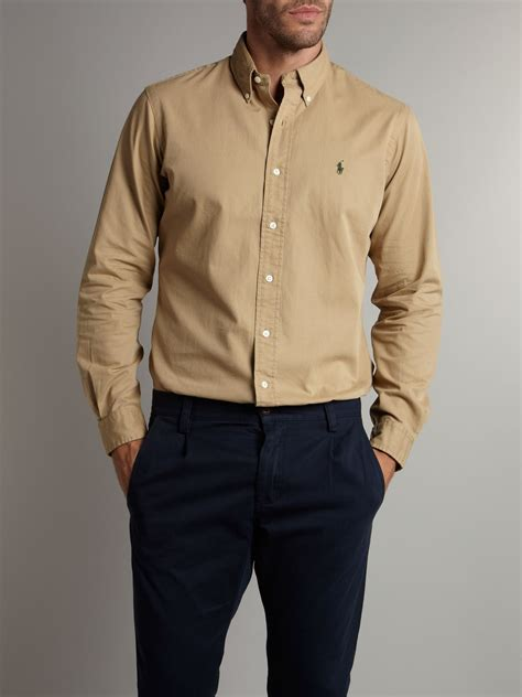 polo ralph solid chino shirt in for lyst