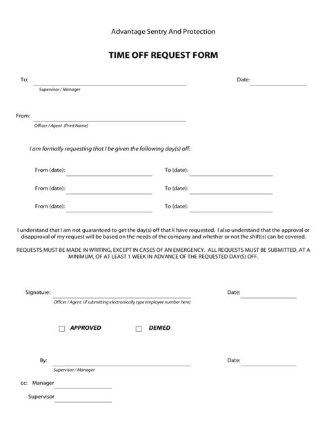 Time Off Request Form   5 Free Templates in PDF, Word