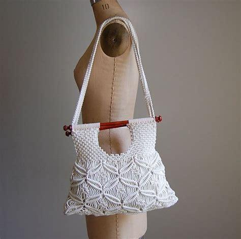 How To Macrame A Purse - vintage 1970 s macrame purse crochet macrame boho bag