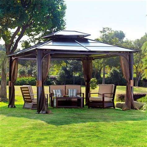 Patio Roofs And Gazebos 10 X 12 Hardtop Metal Steel Roof Outdoor Patio Gazebo W Aluminum Poles By Sunjoy Outdoor