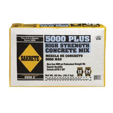sakrete 80 lb 5000 plus concrete 65200370 the home depot