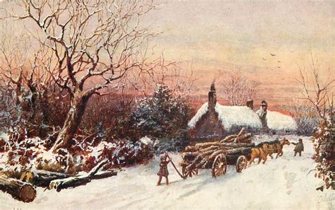 horse drawn wagon full  lumber  stuck  snow man   lever tuckdb postcards