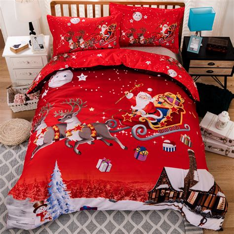 king size christmas bedding wongsbedding merry christmas red bedding set hd print xmas