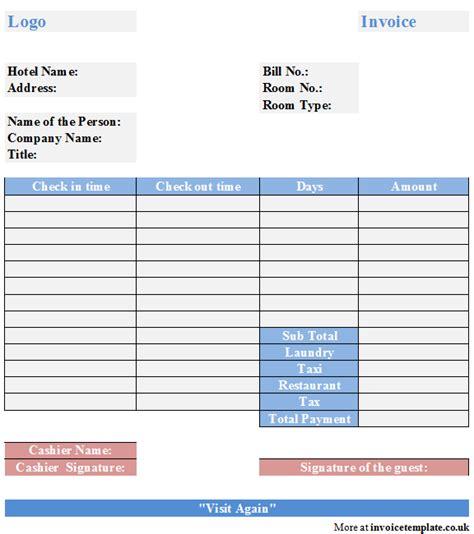 hotel template hotel bill invoice template free hotel bill invoice