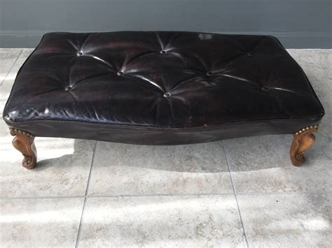 Tortoise Ottoman Early 20th Century Tortoise Color Patent Leather Wide Footstool Ottoman At 1stdibs