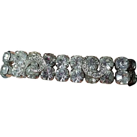 Weiss Bracelet Applied Pave Rhinestone Ribbon Comma Shapes Clear from thisisnotaboutneed on Ruby