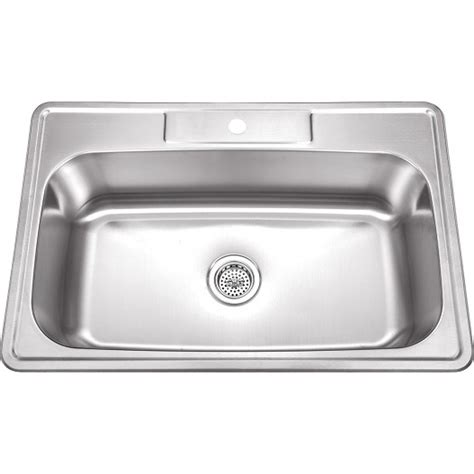 kitchen sink in 33 inch stainless steel top mount drop in single bowl