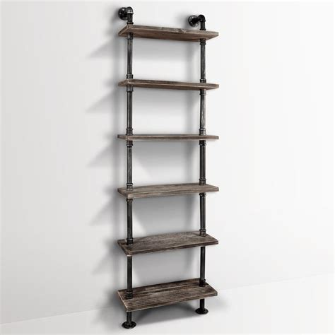 industrial diy 6 level pipe shelf storage vintage wooden