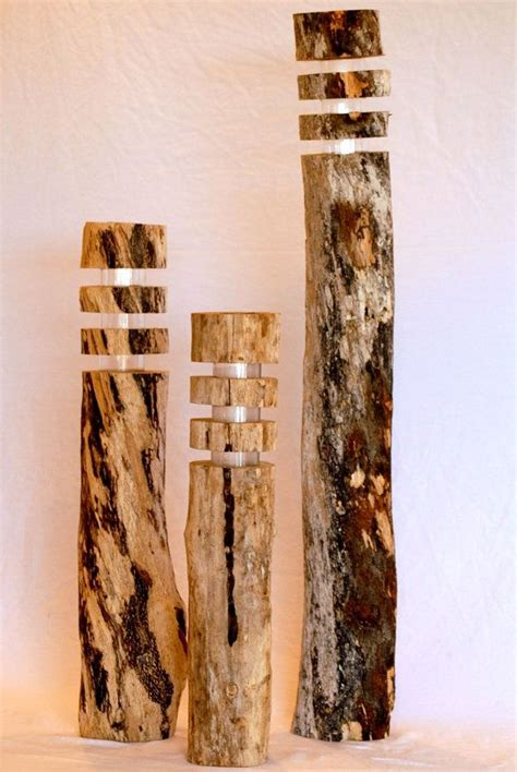 Driftwood Solar Lights Set Of 3 Wooden By Wooden Solar Lights