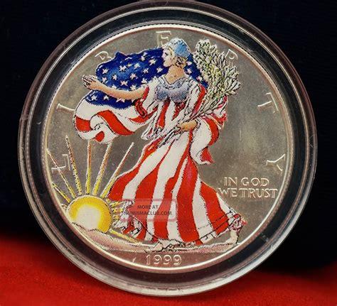 1 oz silver dollar value 1999 american eagle liberty color 999 proof