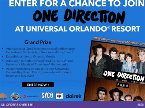 Today Show Orlando Sweepstakes - claire s one direction at universal orlando resort sweepstakes sweepstakes fanatics
