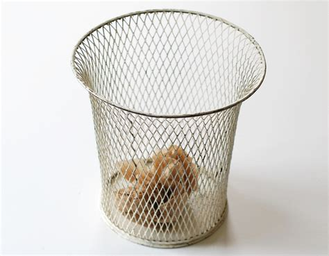 Ideas For Waste Baskets Design Vintage White Wire Waste Basket Office Trash Can Expanded