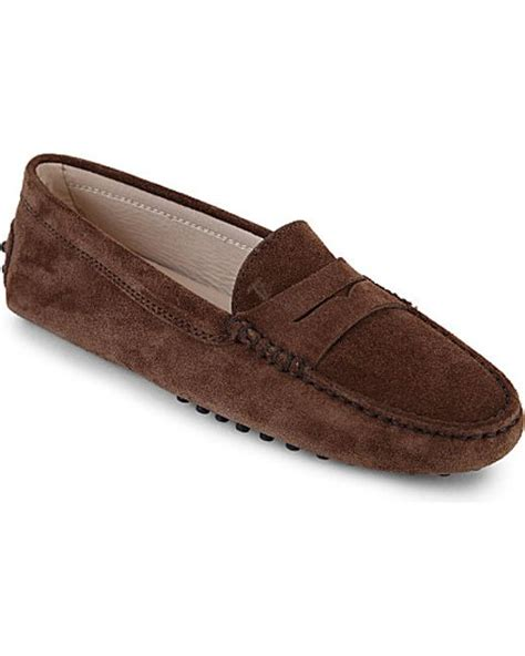 tod s nubuck leather driving shoes in brown brown