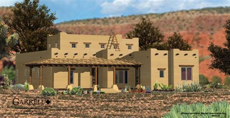 adobe style house plans garrell associates inc santa fe house plan 06312 front elevation southwestern
