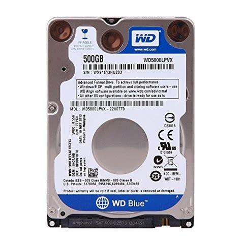 Harddisk Laptop Wd 500gb wd blue 500gb mobile disk drive 5400 rpm sata 6 gb s 7 0 mm 2 5 inch wd5000lpvx