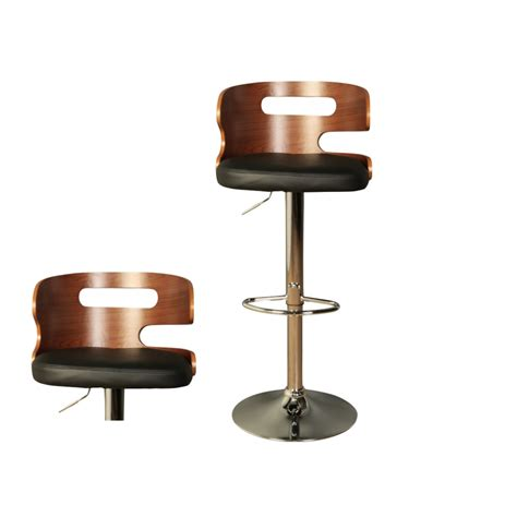 erin bar stool with a black faux leather seat pad