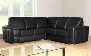 plaza black leather corner sofa settees ebay