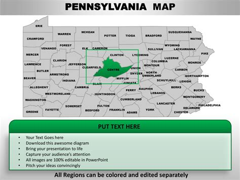 Usa Pennsylvania State Powerpoint County Editable Ppt Maps And Templa Penn State Powerpoint Template