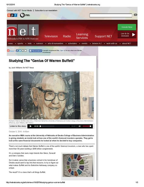 Warren Buffett Talks To Mba Students Pdf by Value Investor Conference